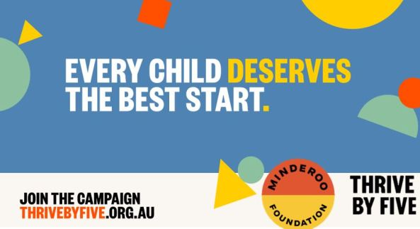 banner blue with 2 yellow triangle; 1 red square, yellow semi-circle, 2 mint semi-circles, 1 mint circle, blue background, text 'every child deserves the best start' in white text with yellow font for 'deserves' & the full stop; text 'join the campaign thrivebyfive.org.au; log circle, top half orange with text ' Minderoo' & lower half 'Foundation' to the right of the logo text 'thrive by five'