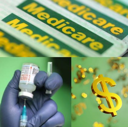 collage of 3 images Medicare cards, vaccine being drawn, gold dollar symbol