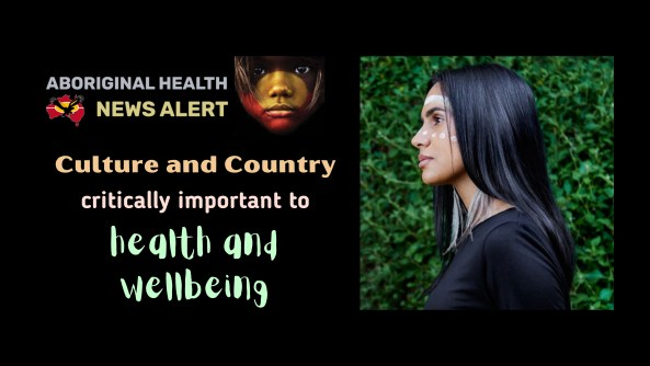 feature tile text 'culture and country critically important to health and wellbeing' & side on portrait photo of Jessica Lovett-Murray Gunditjmara & Yorta Yorta woman