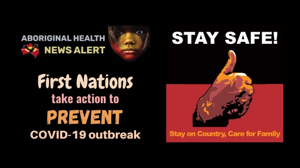 feature tile text 'First Nations take action to PREVENT COVID-19 outbreak' AMSANT developed poster black top half white font test 'STAY SAFE!', bottom half red text 'Stay on Country, Care for Family' - middle vector hand giving thumbs up sign