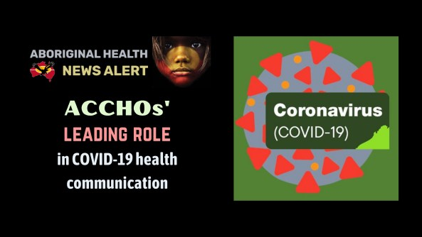 feature tile text 'ACCHOs' leading role in COVID-19 health communications' KAMS vector image of COVID-19 virus cell overlaid with text 'Coronavirus (COVID-19)' colours red, orange, blue, dark green