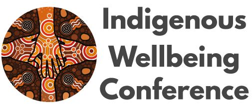banner text 'Indigenous Wellbieng Conference' Aboriginal artwork 4 hands overlaid, colours ochre, red, brown, black, white