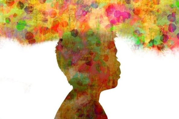 watercolour painting of silhouette of child's head overlaid with yellow pink orange green purple smudged circles overlaid on yellowish background
