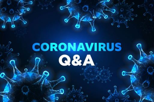 text 'CORONAVIRUS Q&A' against navy blue background with COVID-19 virus vector images