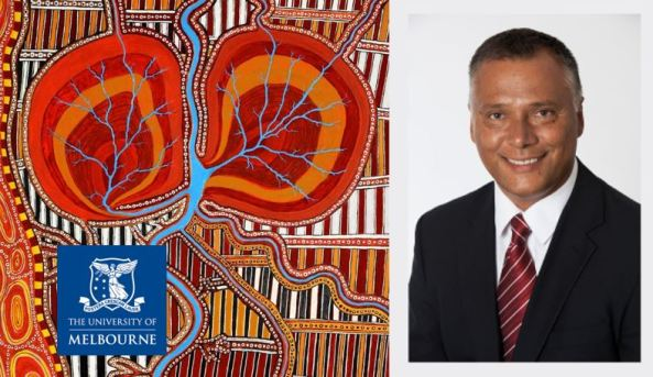 banner Aboriginal dot art & portrait shot of Stan Grant