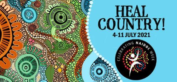 banner - Aboriginal dot painting art circles, gum leaves blue green brown orange pink white & text 'Health Country! 4–11 JULY 2021 & Celebrating NAIDOC Week logo