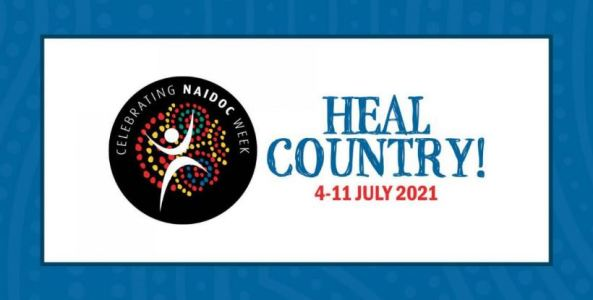 banner text 'Heal Country! 4–11 JULY 2021' & NAIDOC logo black circle with red yellow green blue Aboriginal dot painting overlaid with white circle & 2 boomerang shapes, one for the arms & one for the legs, text around inner rim of circle 'Celebrating NAIDOC Week'