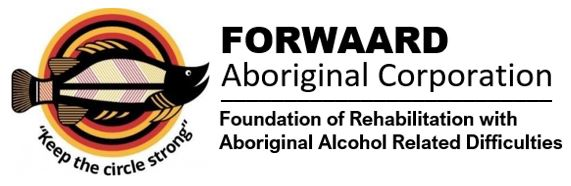 """logo for 'FORWAARD AC Foundation of Rehabilitaition with Aboriginal Alcohol Related Difficulties - """"Keep the circle strong"""" under Aboriginal art of fishh over red, yellow, black concentric circles"""