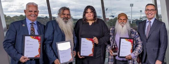 Pictured: Frank Lampard, Jeffrey Newchurch, Latisha Dodd and Major 'Moogy' Sumner with Premier Steven Marshall at the 2021 Premier's NAIDOC Award ceremony. Image credit: Government of South Australia website.