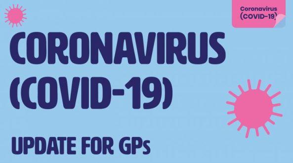 tile light blue background text in navy 'Coronavirus (COVID-19) Update for GPs' pink vector virus cells