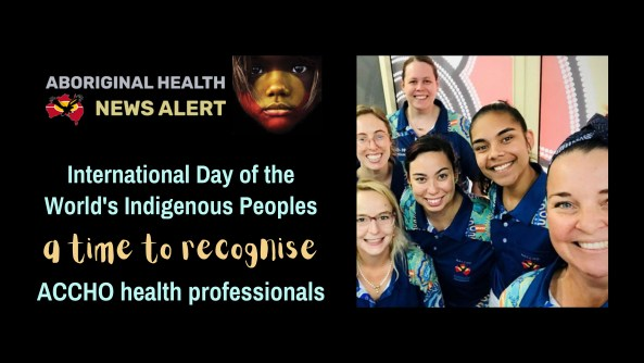 feature tile text 'International Day of the World's Indigenous Peoples a time to recognise ACCHO health Professionals' & photo of 6 Gidgee health workers with COVID-19 polos