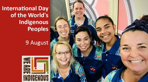 tile text 'International Day of the World's Indigenous Peoples 9 August - We Are Indigenous ' photo of 6 women wearing COVID-19 team health worker polos