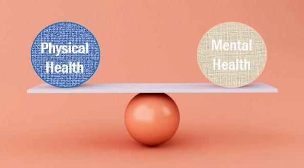 ball balancing two balls like seesaw - one with text 'physical health' the other with text 'mental health'