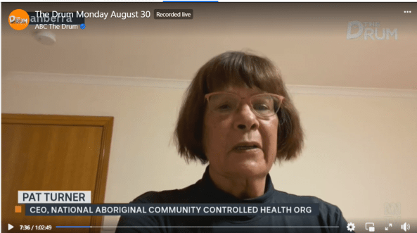 NACCHO CEO Pat Turner AM on The Drum Monday 30 August 2021.