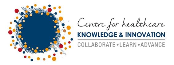 logo text 'Centre for healthcare Knowledge & Innovation - Collaborate - Learn - Advance] blue circle overlaid with small red blue gold circles