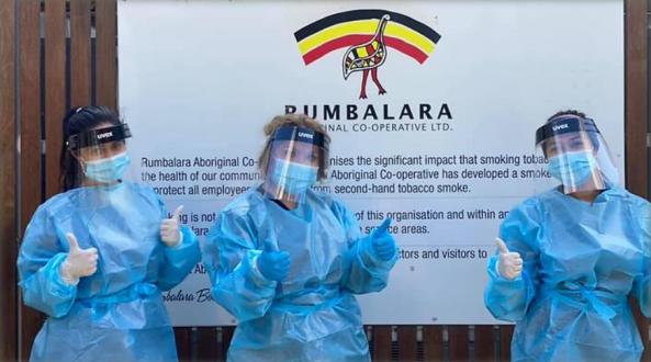 Nurses who helped Rumbalara Aboriginal Co-Operative test 506 people over the weekend. Image source: SBS NITV website.