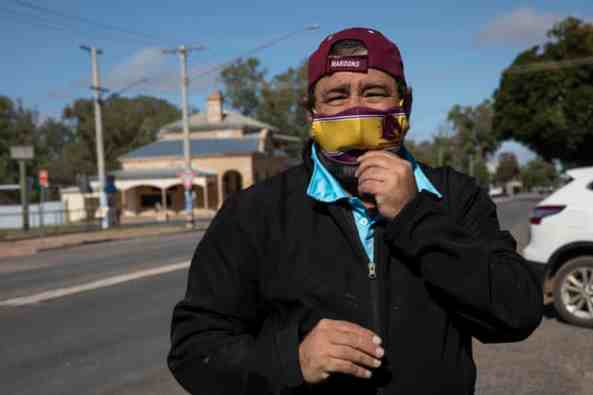 Brendon Adams, who has been helping with providing food to families in isolation, Wilcannia, NSW, Australia. Photograph: Jessica Hromas/The Guardian.