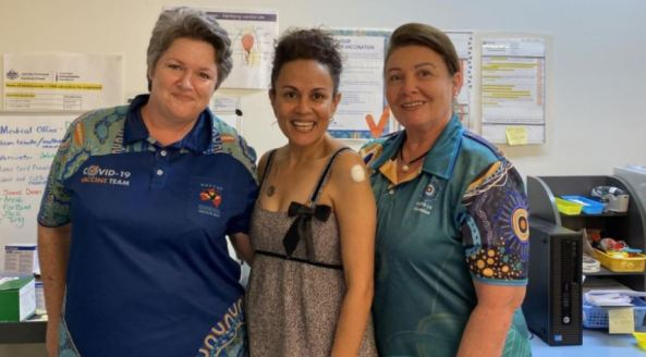 Donnella Mills NACCHO Chair with nurses Melinda Pascoe (left), and Catherine Moro (right)