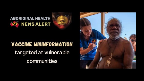feature tile text 'vaccine misinformation targeted at vulnerable communities' & image of Elder man receiving covid-19 vaccine
