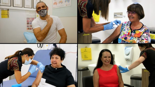 AFL legend Adam Goodes, NACCHO CEO Pat Turner, NACCHO Deputy CEO Dr Dawn Casey and Shadow Minister for Indigenous Australians, the Hon Linda Burney, MP all getting their vaccines to be protected against COVID-19.