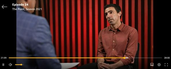 Dr Jason Agostino being interviewed on SBS The Point