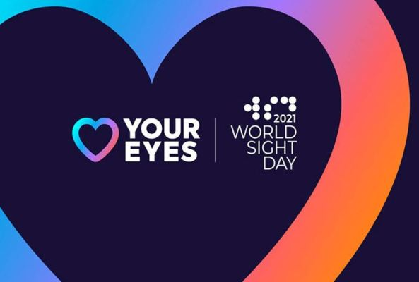 banner black heart with heart shape & text 'your eyes - 2021 World Sight Day' - background blue, purple, orange
