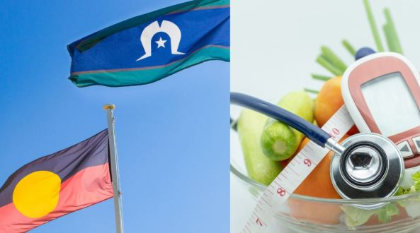 2 images: Aboriginal & TSI flags blowing in breeze; bowl of fruit, tape measure & blood sugar level monitor