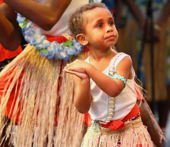 small Torres Strait Islander girl ceremonial dance
