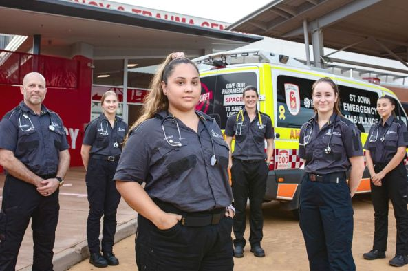 NT paramedic students standing in front of ambulance