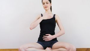 Women breathing deeply, touching chest and abdomen