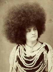 white woman with afro