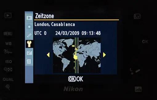 Das Zeitzonenmenü der Nikon D90