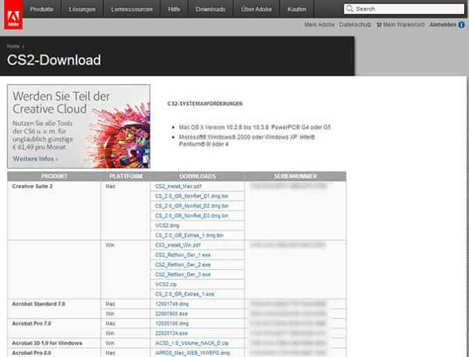 Adobe CS2 Downloadseite