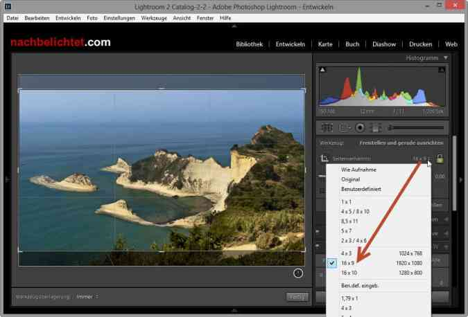 Google+ Profilbild mit Lightroom zuschneiden
