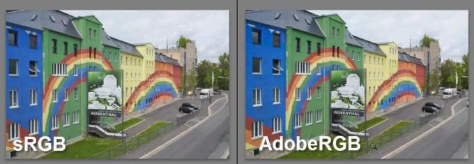 Vergleich sRGB und AdobeRGB nach der Bearbeitung in Lightroom - keine wirklichen Unterschiede sichtbar