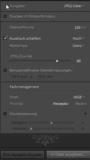 """""""In Datei ausgeben"""" im Druck-Modul"""