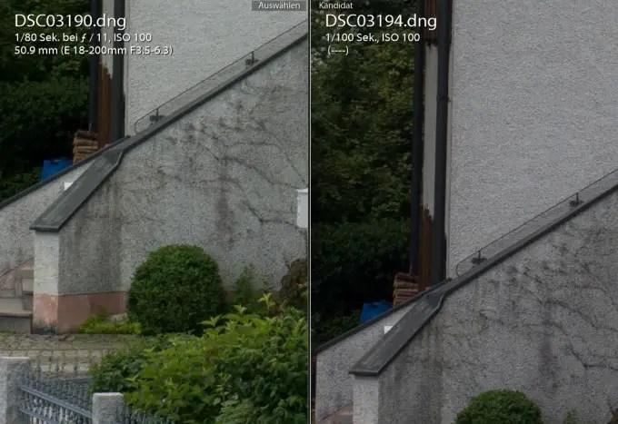 Tamron bei f/11 und 50 mm gegen das Nikon 50 mm 1.8 mit Adapter