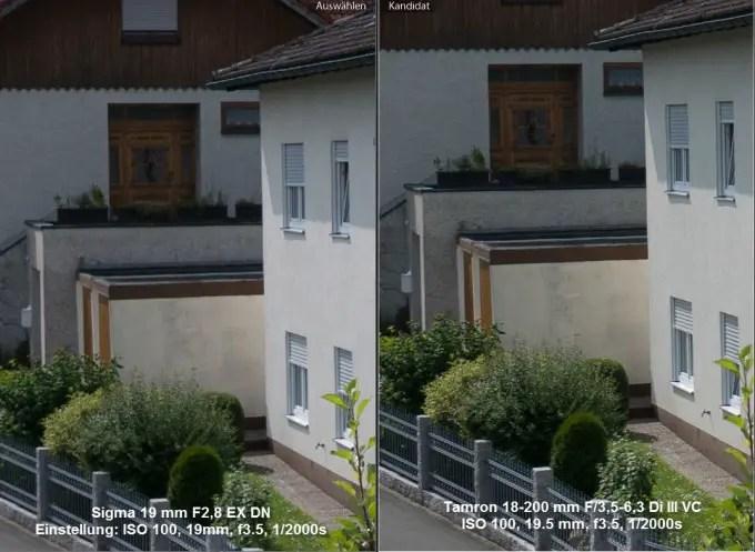 Sigma vs. Tamron Bildmitte bei 19 mm
