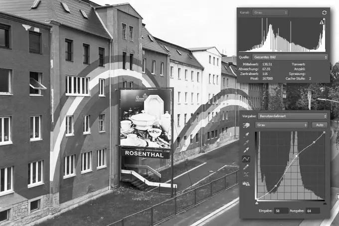 Fehlende Tonwerte im Histogramm eines 8-Bit Fotos nach der Bearbeitung