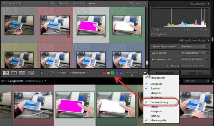 Markmarkierungen über die Werkzeugleiste oder das Vorschaubild auswählen