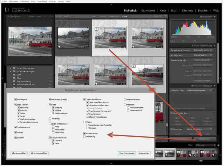 Einstellungen in Lightroom synchronisieren