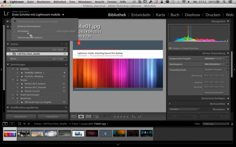 Lightroom 5.4 mit Cloud Synchronisation für das iPad