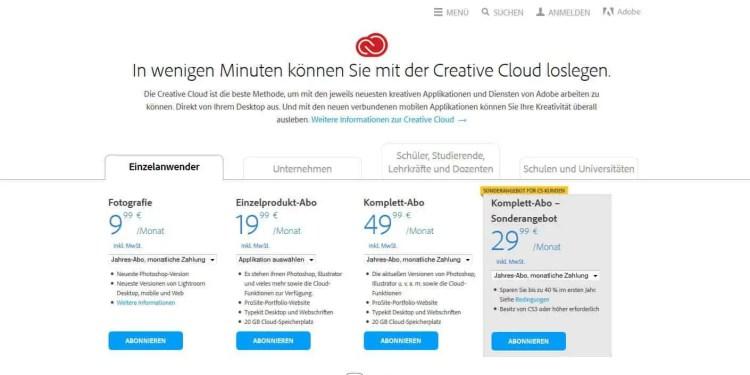 Creative Cloud Abo Angebote