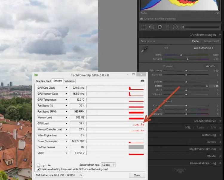 GPU-Auslastung von Lightroom CC 2015 im Entwicklungsmodul