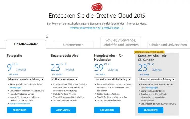 Die aktuellen Creative Cloud Angebote