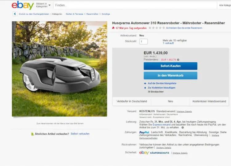 eBay Home&Garden Husqvarna Mähroboter