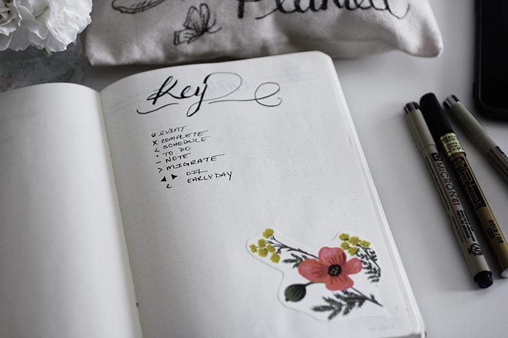 Bullet Journal Key | nachesnow.com/bulletjournal