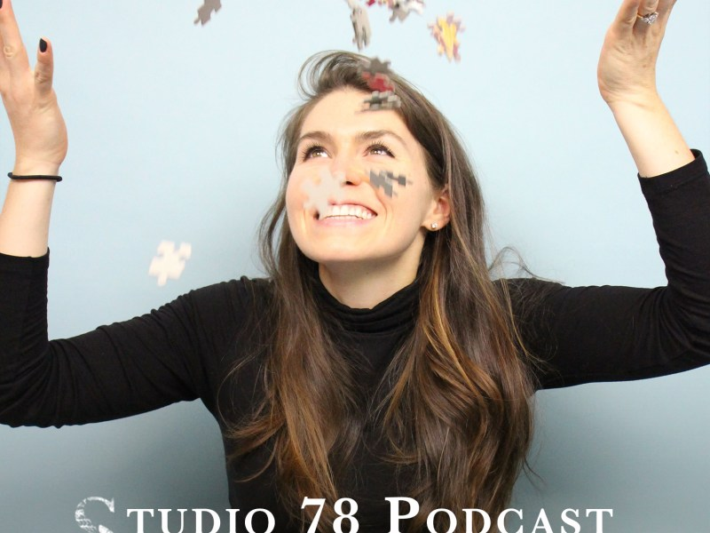 Studio 78 Podcast thumbnail image of Kaylin Marcotte, the founder of JIGGY, frameable puzzles of curated independent art. She's throwing puzzle pieces in the air.