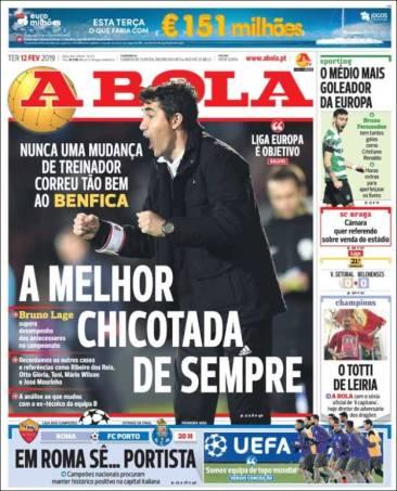 """Bruno Lage, actual estratega del Benfica, dijo que """"nunca un cambio de entrenador le había caído tan bien al Benfica"""". (A Bola)"""
