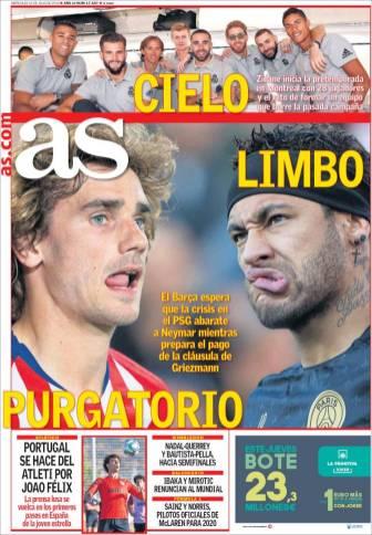 El Barça espera que el PSG pida menos por Neymar y prepara el pago de la cláusula de Antoine Griezmann. (As)